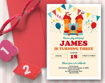 Bouncy House Birthday Invitation   5x7   Editable PDF File   Instant Download   Personalize at home with Adobe Reader