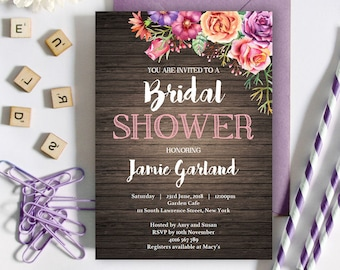 Rustic Floral Bridal Shower Invitation   5x7   Editable PDF File   Instant Download   Personalize at home with Adobe Reader