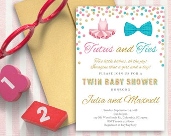 Bow Tie and Twin Baby Shower Invitation   Boy and Girl   5x7   Editable PDF File   Instant Download   Personalize at home with Adobe Reader