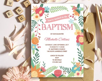Flower Baptism Invitation for Girl   Christening   5x7   Editable PDF   Instant Download   Personalize at home with Adobe Reader