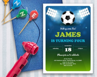 Soccer Invitation   5x7   Editable PDF File   Instant Download   Personalize at home with Adobe Reader