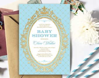 Baby Blue and Gold Prince Baby Shower Invitation   5x7   Editable PDF   Instant Download   Personalize with Adobe Reader