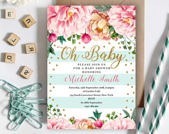 Floral Baby Shower Invitation | 5x7 | Editable PDF | Instant Download | Personalize at home with Adobe Reader