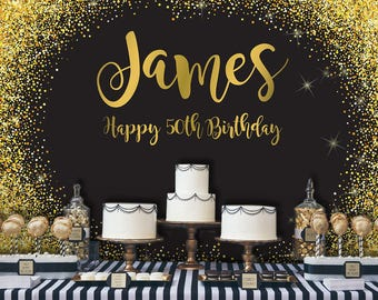 Black and Gold Backdrop   Adults Party Banner   Poster   Signage   Personalised   Printable ONLY   Birthday Backdrop