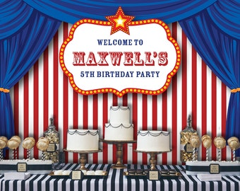 Carnival Backdrop   Circus Party Banner   Poster   Signage   Personalised   Printable ONLY   Birthday Backdrop