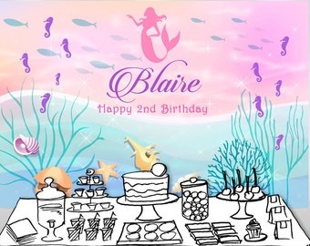 Mermaid Backdrop   Banner   Poster   Signage   Personalised   Printable ONLY   Birthday Backdrop