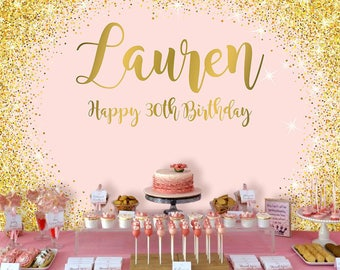 Pink and Gold Polka Backdrop   Adults Party Banner   Poster   Signage   Personalised   Printable ONLY   Birthday Backdrop