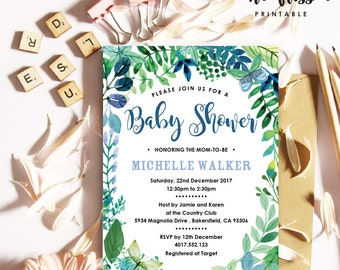 Watercolor Blue Flower Baby Shower Invitation | 5x7 | Editable PDF | Instant Download | Personalize at home with Adobe Reader