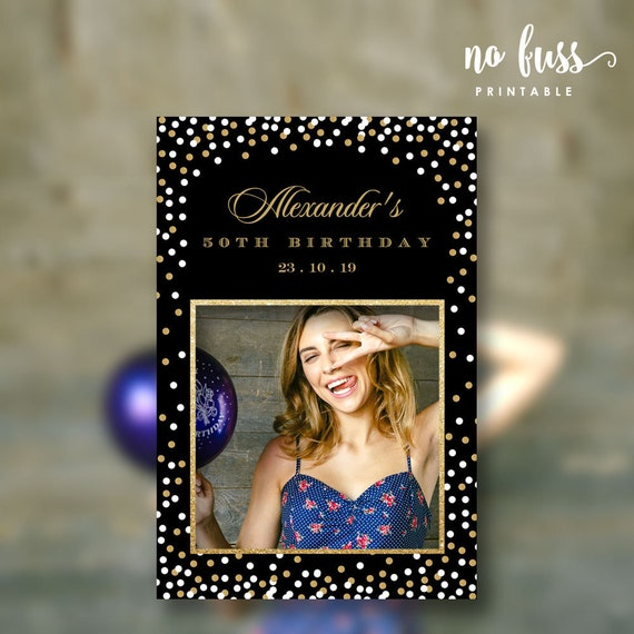 Photo Booth Frame Prop 24x36 Instant Download Editable PDF Personalize at home with Adobe Reader PF01