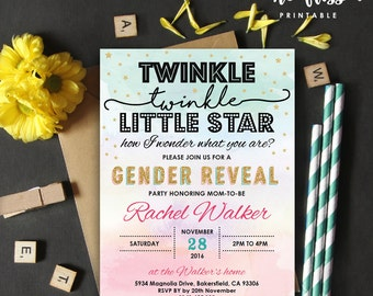 Twinkle, Twinkle Little Star Baby Shower Invitation   Gender Reveal   5x7   Editable PDF   Instant Download   Personalize with Adobe Reader