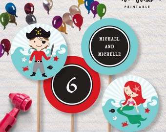 Pirate and Mermaid Cupcake Topper   Editable PDF File   Instant Download   Personalize at home with Adobe Reader