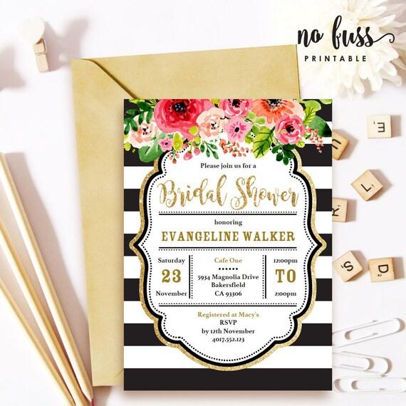 4a5897e2a896 Black   White Stripe Gold Glitter Bridal Shower Invitation