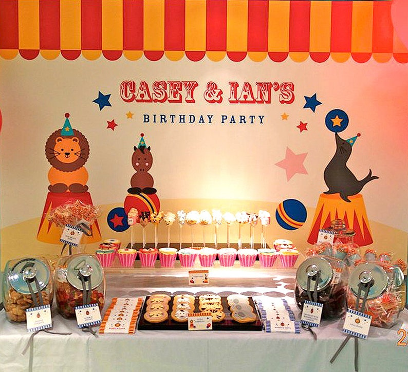 Circus Backdrop Birthday Backdrop Printable ONLY Poster Personalised Party Banner Signage