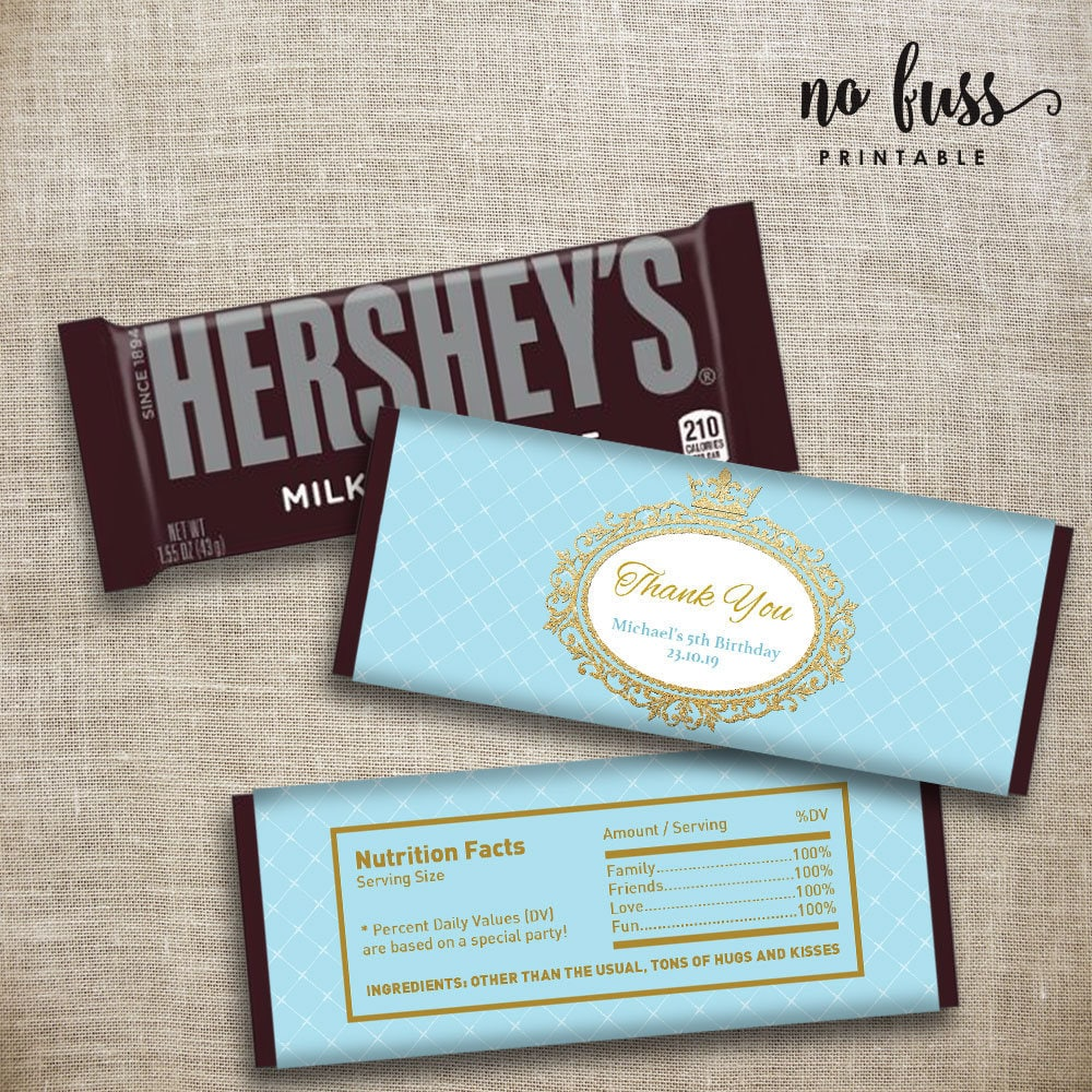 Baby Blue Prince Crown Candy Bar Label Hershey Chocolate Etsy