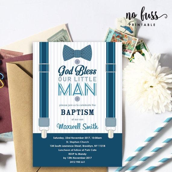 little man baptism invitation christening 5x7 editable etsy