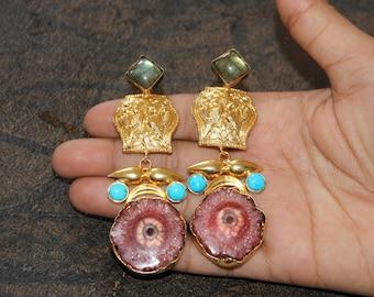 """3.26"""" Grapefruit Solar Quartz, Labradorite & Turquoise Gold Earrings / Bollywood Designer Earrings / Gemstone Earrings / OOAK / GE92"""