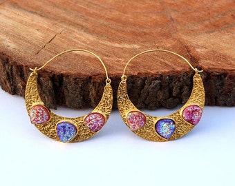 70x53 mm 22kt Gold Plated Grapefruit and Purple Titanium Druzy Crescent Hoop Earrings / Gemstone Earrings / Druzy Heart Earrings