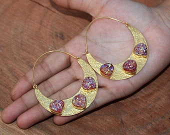70x53 mm 22kt Gold Plated Grapefruit Titanium Druzy Crescent Hoop Earrings / Gemstone Earrings / Druzy Heart Earrings