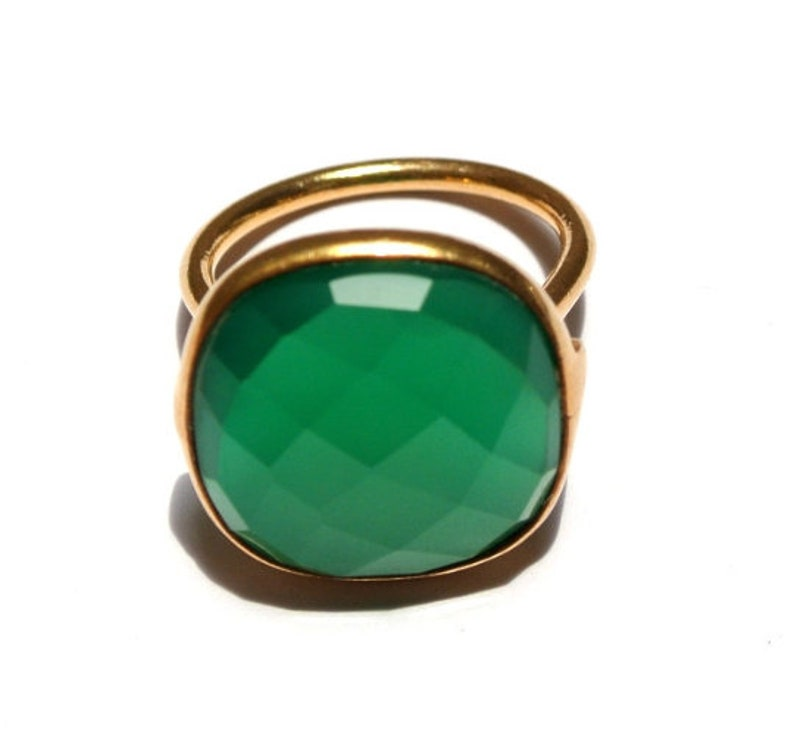 8f4b03165 925 Sterling Silver Green Onyx Ring With 18k Gold Vermeil