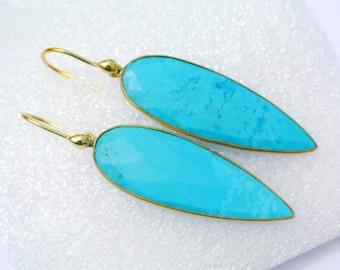 Gold Plated Bezel Set Turquoise Earrings Gemstone Earrings Handmade Earrings Dangle Earrings Best Seller Handmade Jewelry GJW09