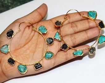 Natural Black Tourmaline & Turquoise Gold Hoop Earrings / One of a kind Designer Gemstone Earrings / Ethnic Tribal Gold Earrings / OOAK