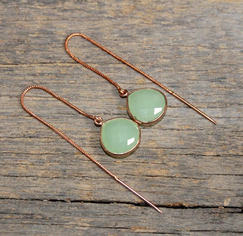 9d6c148f6 Faceted Apple Green Chalcedony Heart Gemstone Threader | Etsy