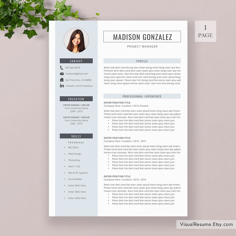 2020 Resume Template / CV Template Professional Resume | Etsy