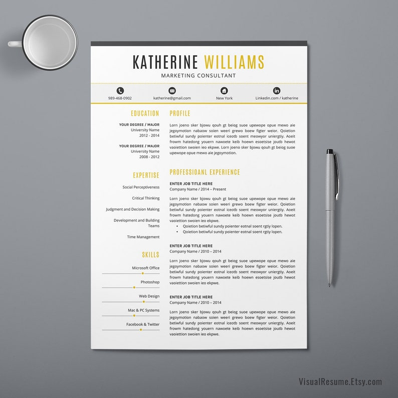 2019 Resume CV Template, Digital MS Office Word Graduate Resume, Student  Resume, Internship Resume, Instant Download Resume Katherine Resume