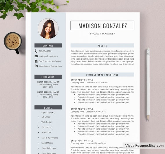 2020 Resume Template / CV Template, Professional Resume, Modern and Simple  Resume, Office Word Resume, Instant Download, A4 Letter Size
