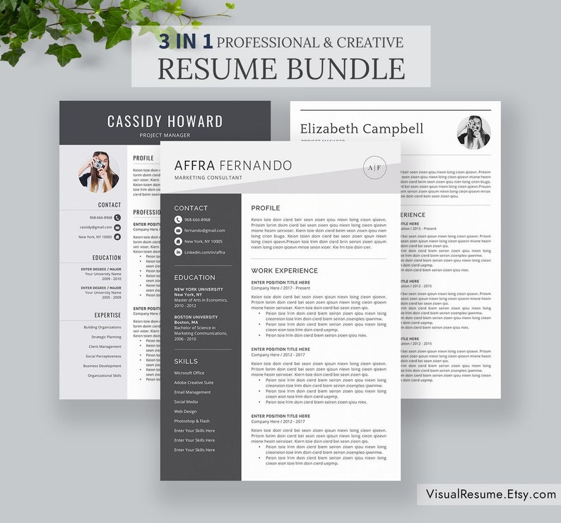 3 In 1 Resume Bundle 2019 Office Word Resume Professional Simple Resume Template Cv Template 1 3 Page Instant Download Affra B