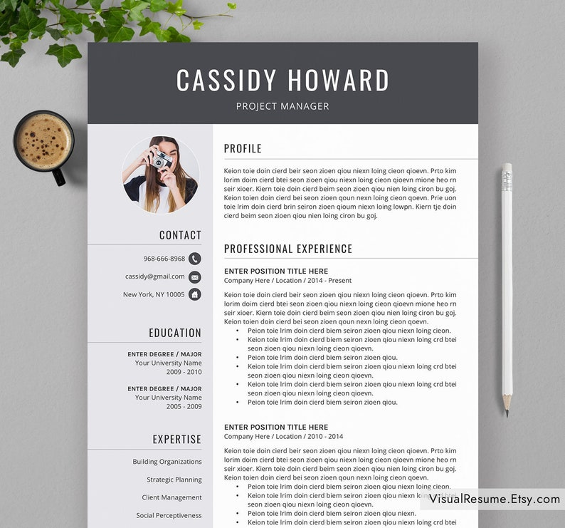 2019 Creative Resume Template CV Digital Instant Professional Office Word Fonts Icons Cassidy