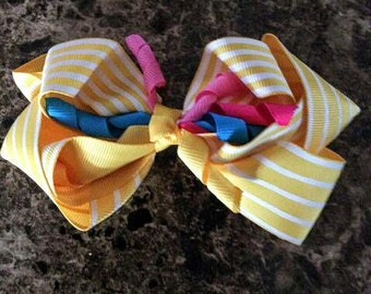 One (1) Yellow Striped Handmade Hair Bow