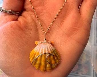 Ocean Wave Wire Wrapped Sunrise Shell Necklace; 14k Gold Filled