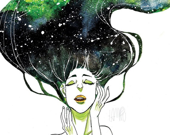 Galaxy in her hair - art print