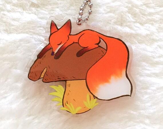 Cute mushroom fox keychain charm