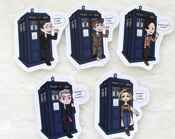 Doctor Who - the Doctor and the Tardis keychain sticker