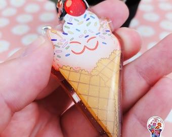 Cute ice cream cat glitter charm keychain