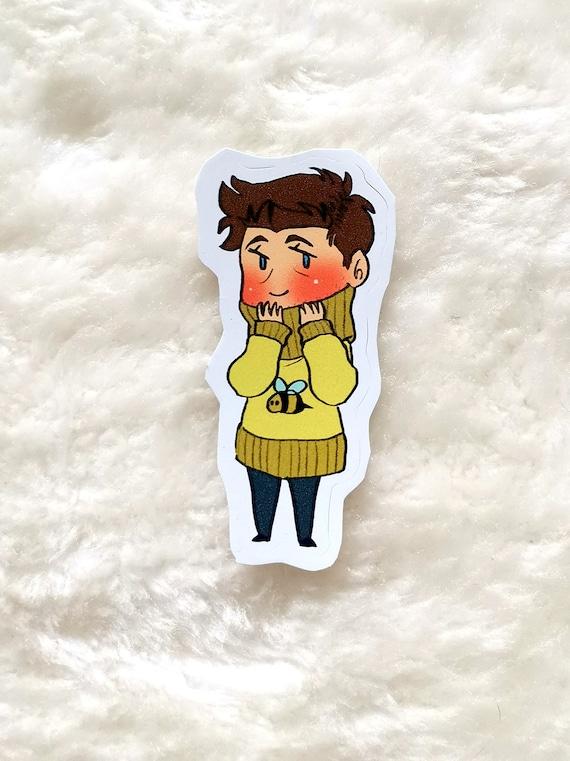 Supernatural sticker: Cas in a bee sweater