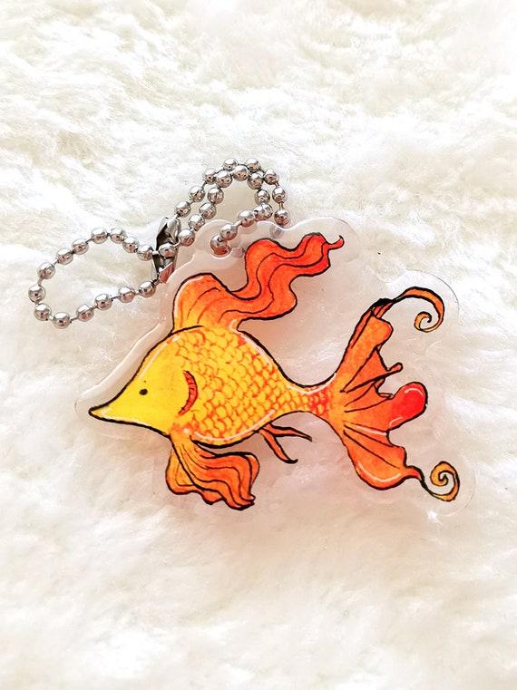 Exotic fantasy fish keychain charm