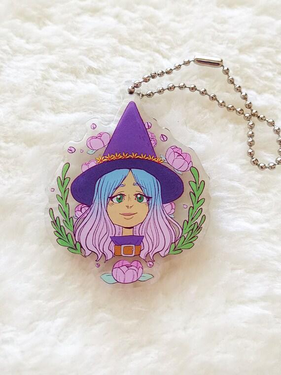 Cute flower witch acrylic charm keychain