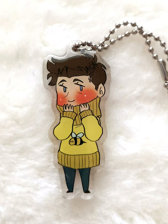 Supernatural charm keychain chibi Cas in a bee sweater