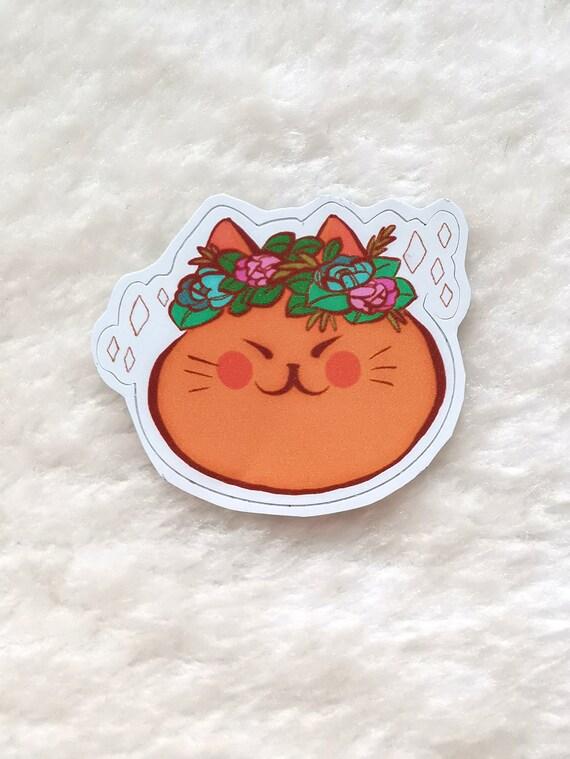 Orange fat cat in a flower crown sticker