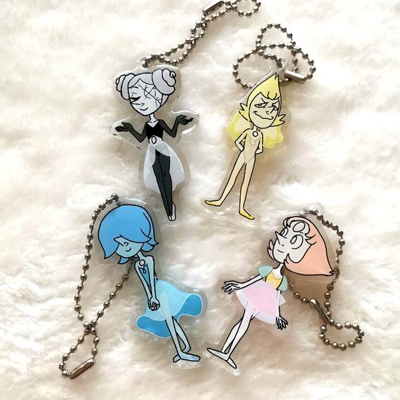 Steven Universe charm keychain the Pearls white pearl yellow pearl blue pearl pink pearl