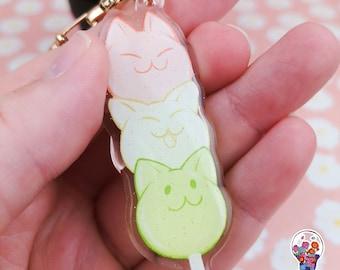 Dango cat glitter keychain charm