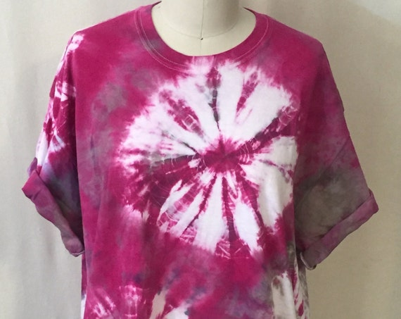 SALE Hot Pink Shibori Burst Tee ( unisex XL)