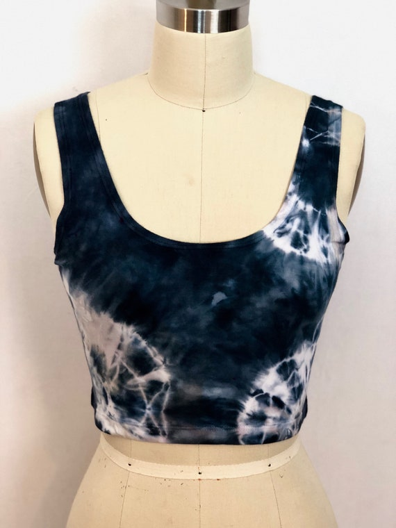 SALE Black Magic Shibori Crop Top