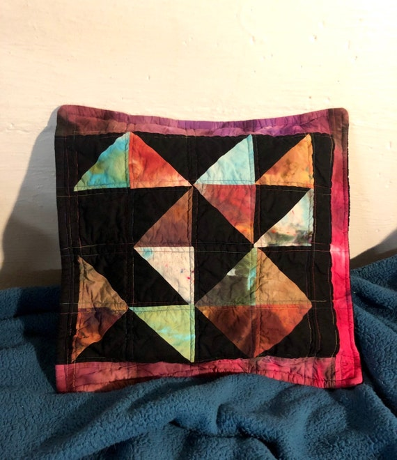 Jazz Patchwork Pillow Quilted Cover (insert not included )