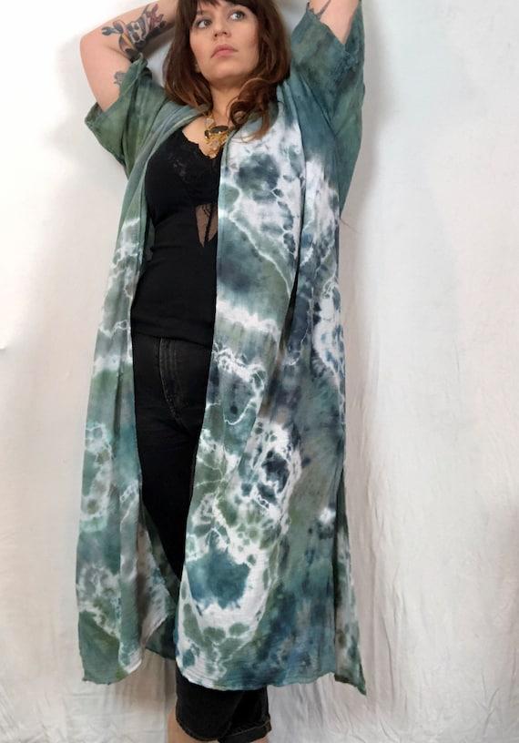 Green Magic Shibori Kimono Duster