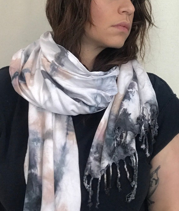Shibori Plaid Fringed Scarf