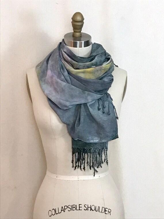 Shibori Tie Dye Fringed Scarf